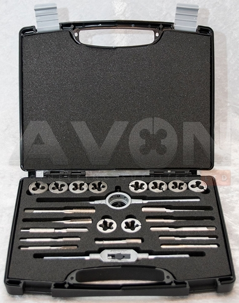 "Picture of BSF/BSW Tap & Die Set (1/4"" to 1/2"") C/W All tapping drills."